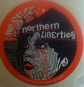 Duerr does the art for Northern Liberties' album covers and stickers. (Photo by Tom Dougherty)